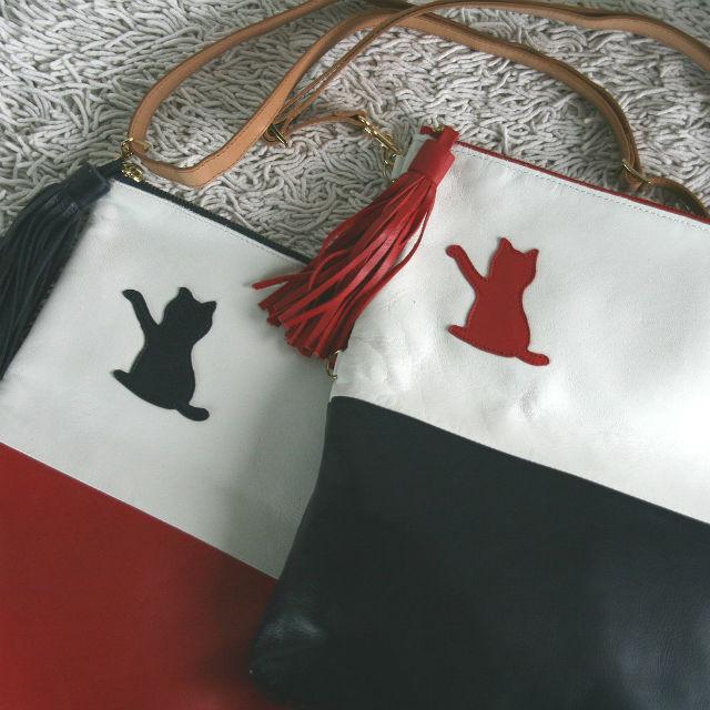 3wayネコショルダーバッグ NAVY&RED